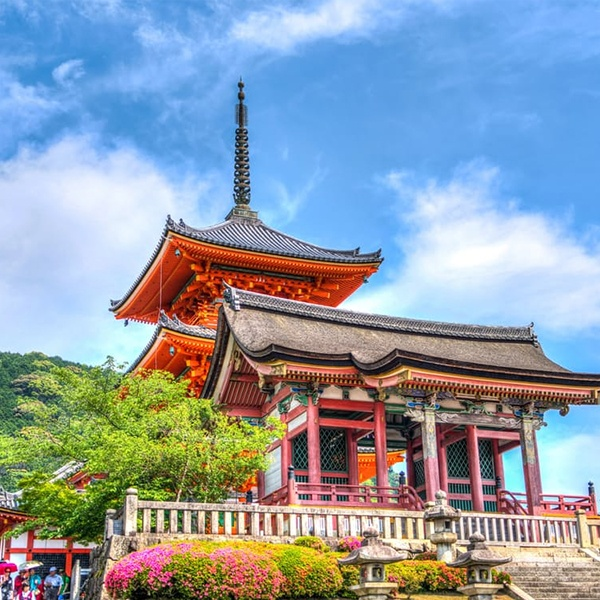 Tokyo Temple on Elevated Area Under Blue  Sky and White